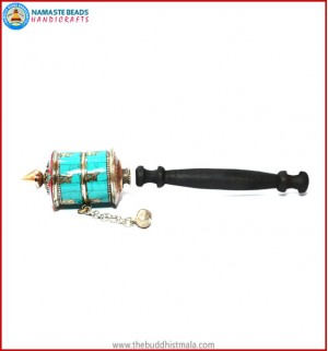 Turquoise & 2 Row Mantra Prayer Wheel