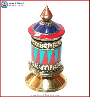 Sanskrit Mantra Carved Table Prayer Wheel