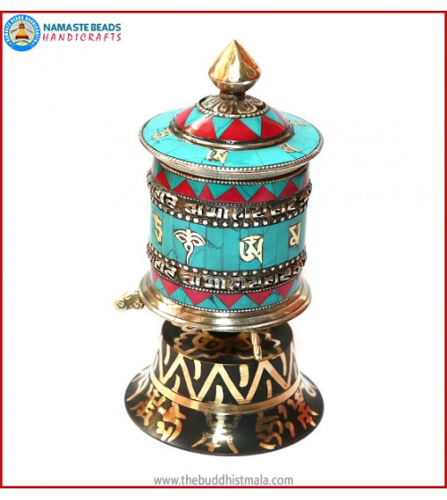 Coral & Turquoise Inlaid Table Prayer Wheel