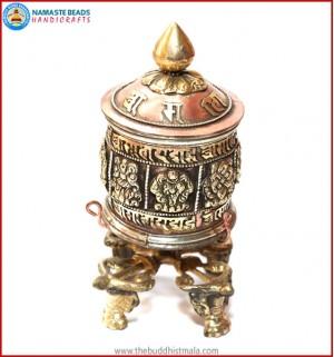 """8 Auspicious Symbol"" Carved Table Prayer Wheel"
