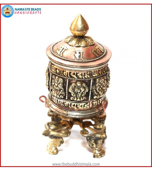 """8 Auspicious Symbol"" Carved Table Prayer Wheel"
