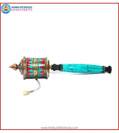 Mantra & Coral Turquoise Prayer Wheel