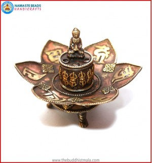 Mantra Carved Copper Incense Burner