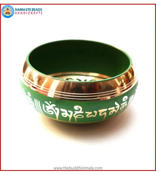 "Mantra Itching & Inside ""OM"" Itching Green Singing Bowl"