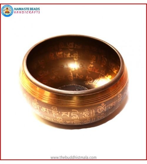 """Mantra Carved & Inside """"OM"""" Symbol Singing Bowl"""