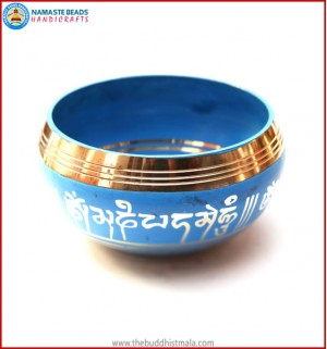 "Mantra Itching & Inside ""Bajra"" Itching Blue Singing Bowl"