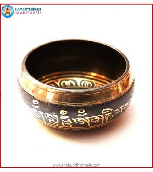 "Mantra Itching & Inside ""5 Buddha"" Symbol Singing Bowl"