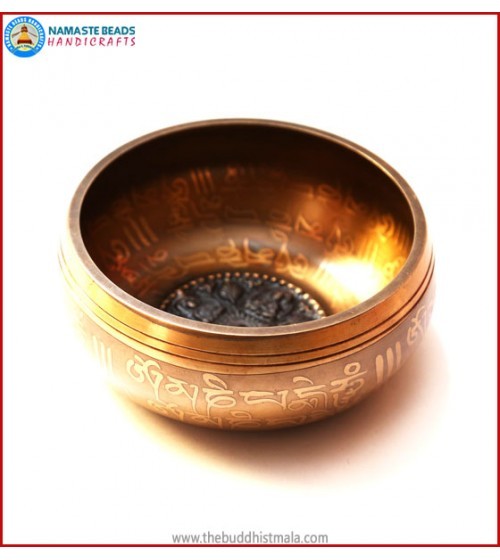 "Mantra Carved & Inside ""4 Buddha"" Symbol Singing Bowl"