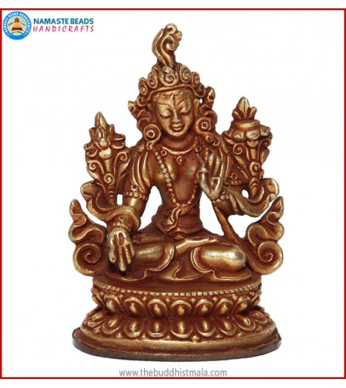 """Green Tara"" Brass Statue"
