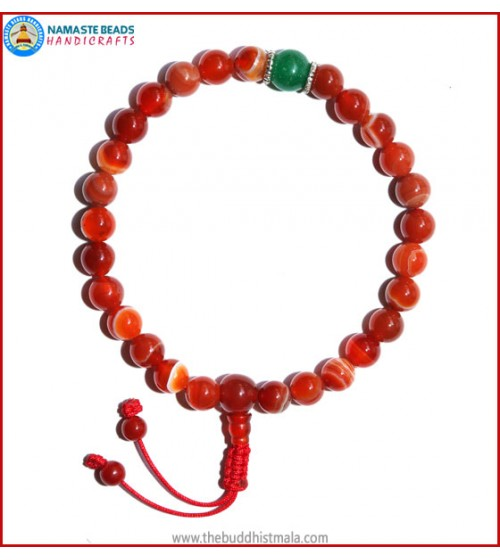 Red Agate Stone Wrist Mala with Green Jade Bead