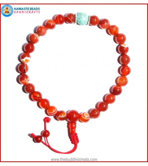 Red Agate Stone Wrist Mala with TUrquoise Bead