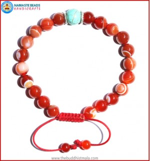 Red Agate Stone Bracelet with Turquoise Bead