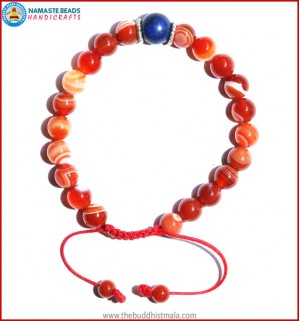 Red Agate Stone Bracelet with Lapis Lazuli Bead