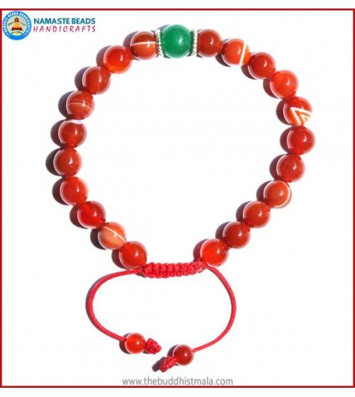 Red Agate Stone Bracelet with Green Jade Bead
