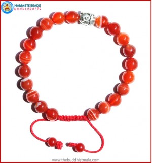 Red Agate Stone Bracelet with Buddha Head