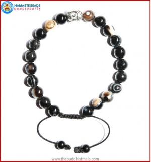 Black Agate Stone Bracelet with Buddha Head