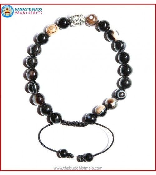 Black Agate Stone Bracelet with Buddha Head