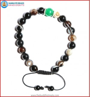 Black Agate Stone Bracelet with Green Jade Bead