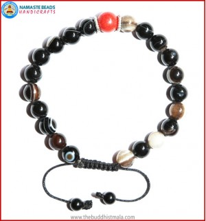 Black Agate Stone Bracelet with Coral Bead