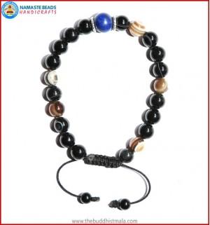 Black Agate Stone Bracelet with Lapis Lazuli Bead