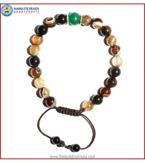 Brown Agate Stone Bracelet with Green Jade Bead