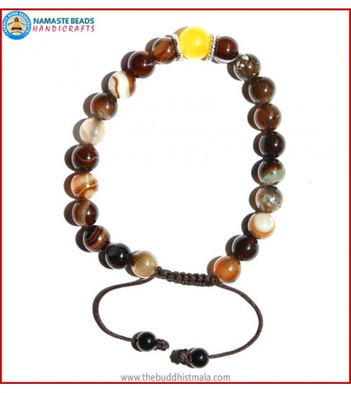 Brown Agate Stone Bracelet with Yellow Jade Bead