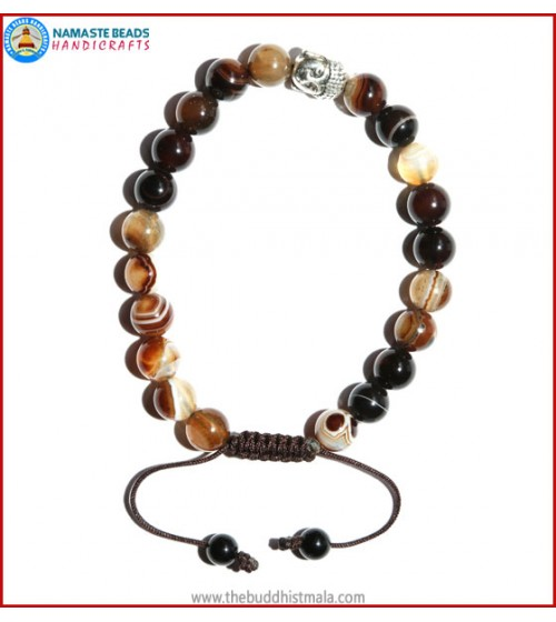 Brown Agate Stone Bracelet with Buddha Head