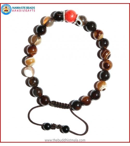 Brown Agate Stone Bracelet with Coral Bead