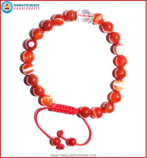 Red Agate Stone Bracelet with Crystal Beads