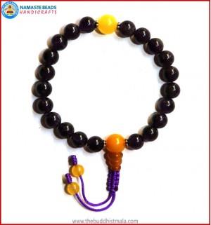 Amethyst Stone Wrist Mala with Yellow Jade Guru Bead