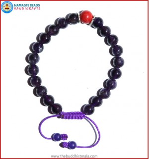 Amethyst Stone Bracelet with Coral Bead