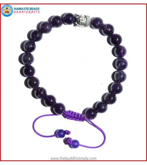 Amethyst Stone Bracelet with Buddha Head Bead