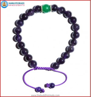 Amethyst Stone Bracelet with Green Jade Bead