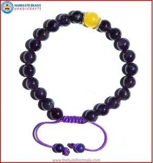 Amethyst Stone Bracelet with Yellow Jade Bead