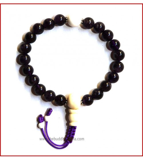 Amethyst Stone Wrist Mala with White Bone Guru Bead
