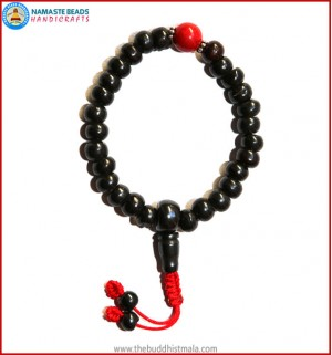 Black Bone Wrist Mala with Coral Bead