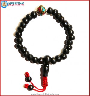 Black Bone Wrist Mala with Inlays Metal Bead