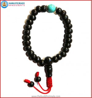 Black Bone Wrist Mala with Turquoise Bead