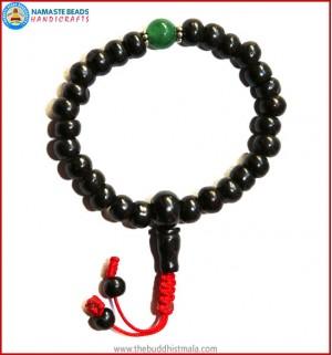 Black Bone Wrist Mala with Jade Bead