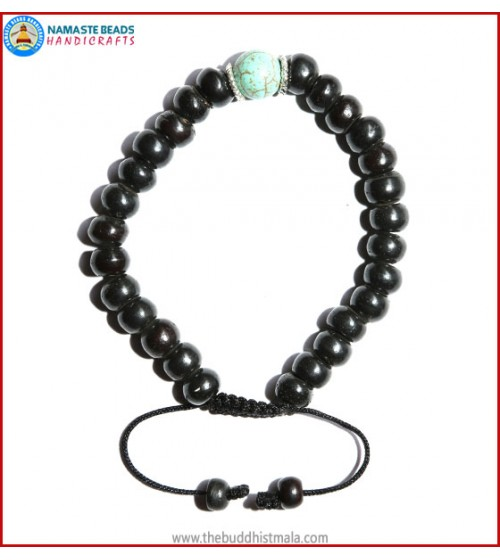 Black Bone Bracelet with Turquoise Bead