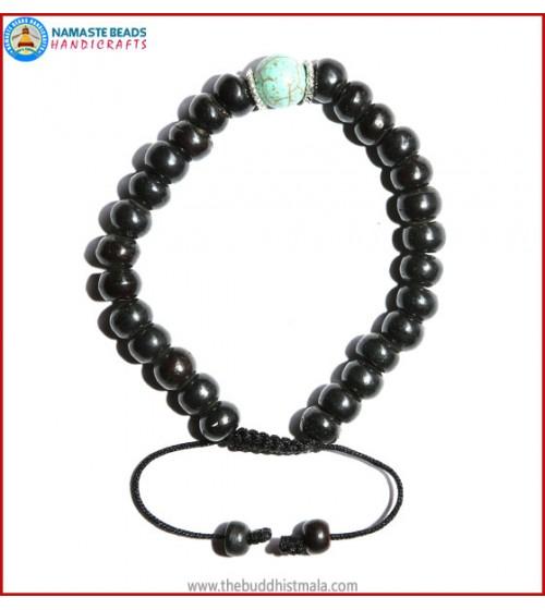 Black Bone Bracelet with Turquoise Bead