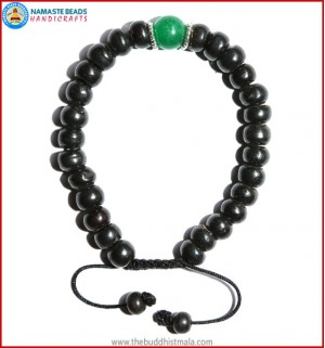 Black Bone Bracelet with Jade Bead