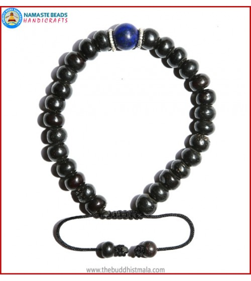 Black Bone Bracelet with Lapis Lazuli Bead