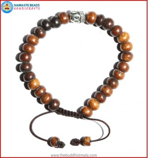 Brown Bone Bracelet with Buddha Head