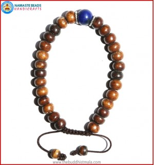 Brown Bone Bracelet with Lapis Lazuli Bead