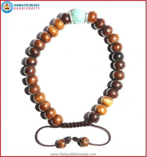 Brown Bone Bracelet with Turquoise Bead