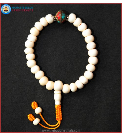 White Bone Wrist Mala with Inlays Metal Bead