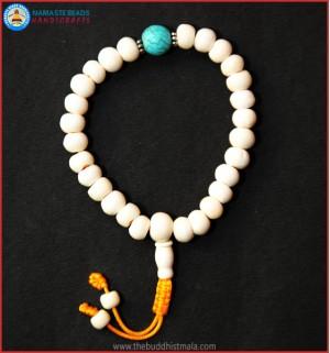 White Bone Wrist Mala with Turquoise Bead