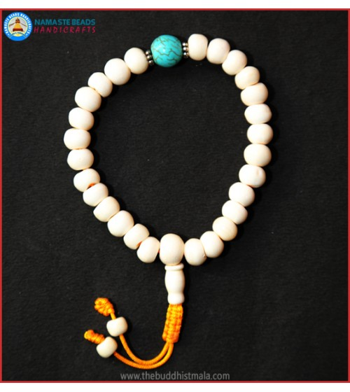 White Bone Wrist Mala with Turquoise Bead