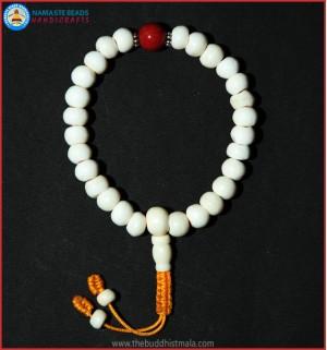 White Bone Wrist Mala with Coral Bead
